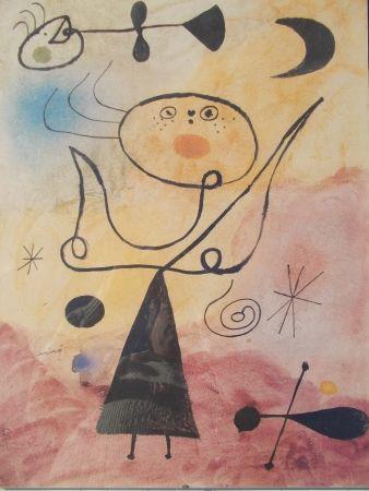Lithographie Miró (After) - Femme, étoile, oiseau