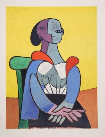 Lithographie Picasso - Femme A La Chaise Sur Fond Jaune, 9-C