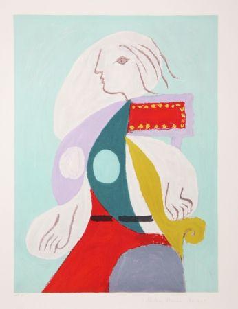 Lithographie Picasso - Femme A La Robe Multicolore