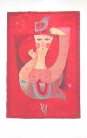 Lithographie Briss - Femme a l'oiseau