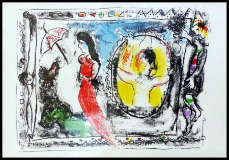 Lithographie Chagall - FEMME A L'OMBRELLE