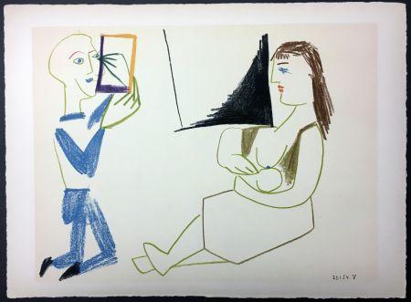Lithographie Picasso - Femme allaitant (de La Comédie Humaine - Verve 29-30. 1954).