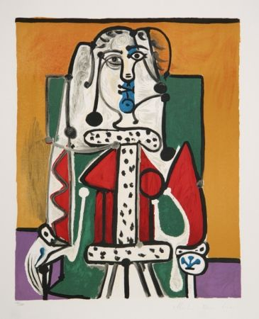 Lithographie Picasso - Femme Assise A La Robe D'Hermine
