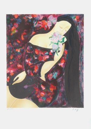 Lithographie Le Kinff - FEMME AU BOUQET