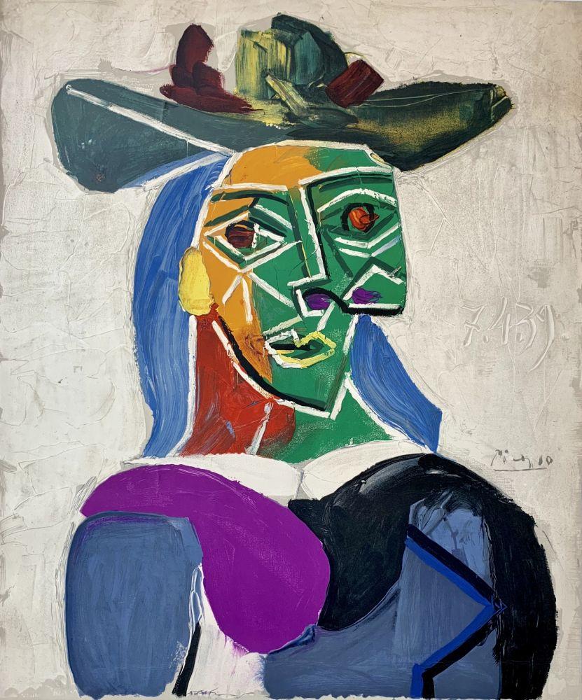 Lithographie Picasso - Femme au Chapeau