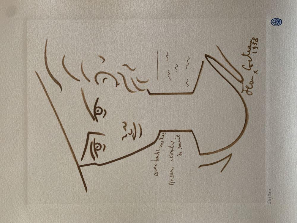 Lithographie Cocteau - Femme au chapeau