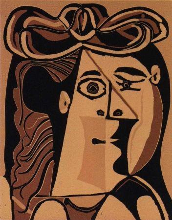 Linogravure Picasso - Femme au Chapeau