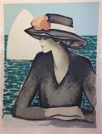 Lithographie Cassigneul  - Femme au chapeau.