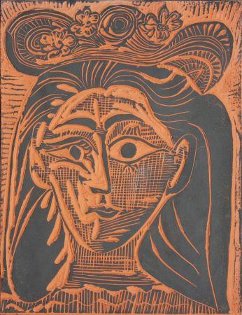 Céramique Picasso - Femme au Chapeau Fleuri (A.R. 521)