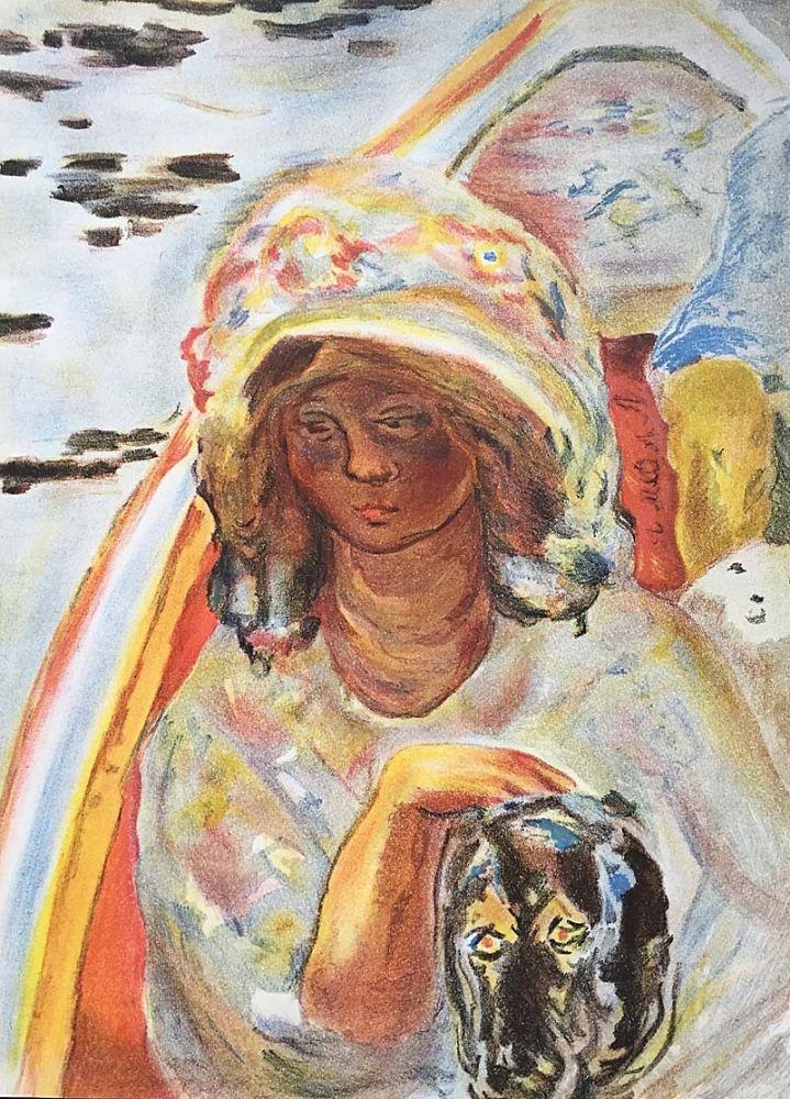 Lithographie Bonnard - Femme au chien dans une barque