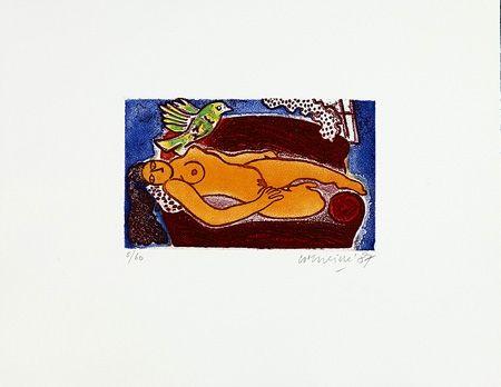 Gravure Corneille - Femme au divan rouge