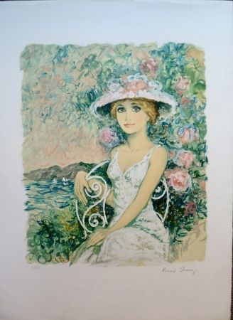 Lithographie Charoy - Femme au Jardin