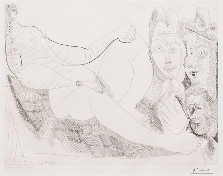Gravure Picasso - Femme au Lit avec Visiteurs