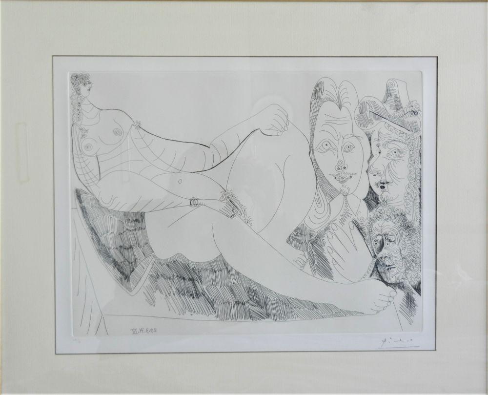 Eau-Forte Picasso - Femme au Lit avec Visiteurs en Costume du XVII Siecle