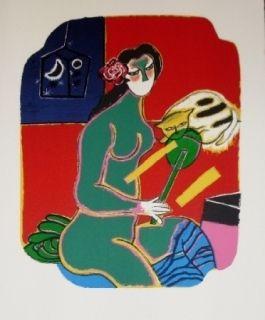 Lithographie Corneille - Femme au miroir