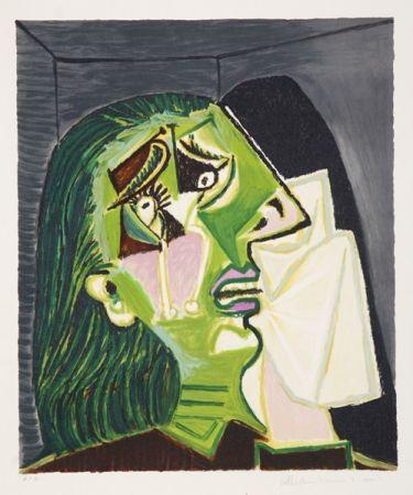 Lithographie Picasso - Femme au Mouchoir