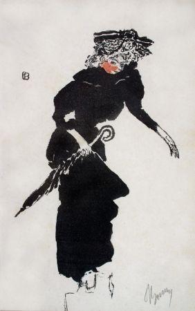 Lithographie Bonnard - Femme au Parapluie