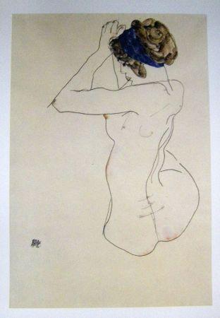 Lithographie Schiele - Femme au turban bleue