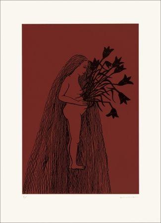 Lithographie Gurbuz - Femme aux cheveux longs II rouge