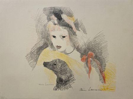 Lithographie Laurencin - Femme avec chien