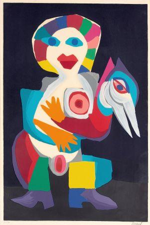 Lithographie Appel - Femme avec Oiseau