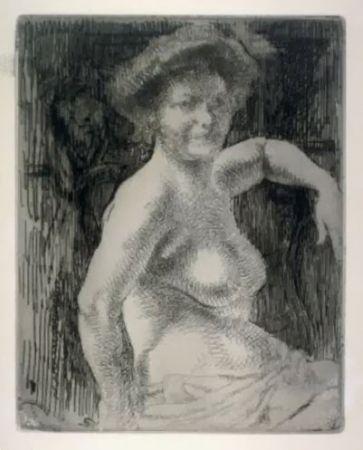Gravure Besnard - Femme blonde à sa toilette