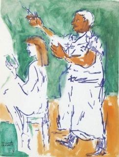 Aucune Technique Mualla - Femme chez le coiffeur