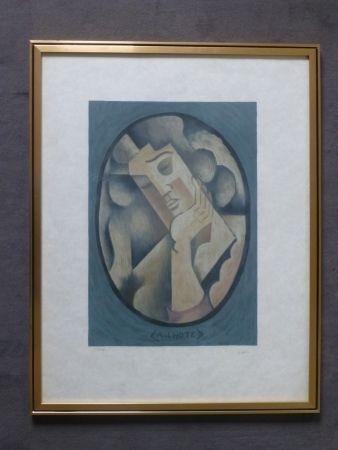 Lithographie Lhote - Femme cubiste pensive