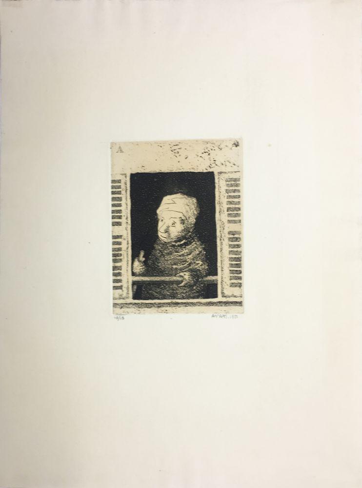 Aquatinte Avati - Femme de ménage à la fenêtre (1951)