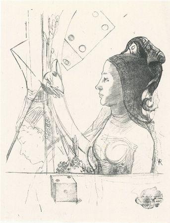 Lithographie Redon - Femme de profil, coiffée d'un hénin