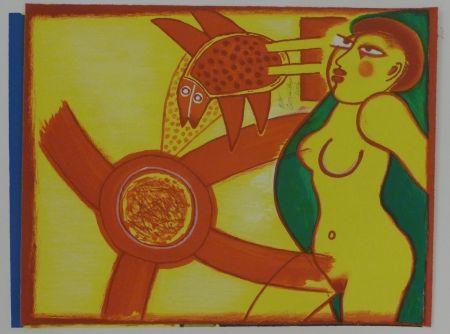 Lithographie Corneille - Femme en jaune