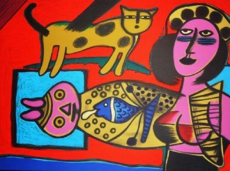 Lithographie Corneille - Femme et chat