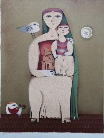 Lithographie Briss - Femme et enfant