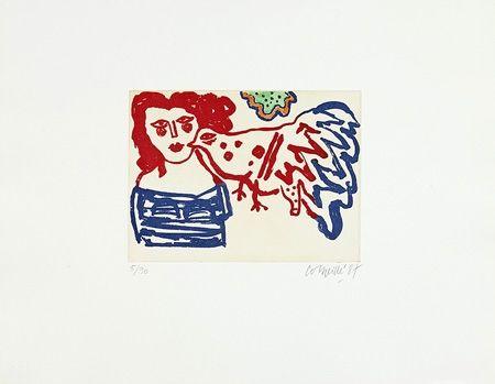 Gravure Corneille - Femme et oiseau