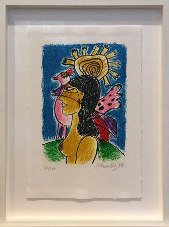 Sérigraphie Corneille - Femme et oiseaux