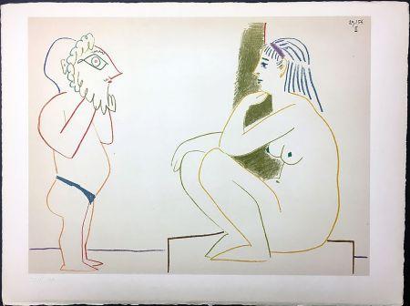 Lithographie Picasso - Femme et Satyre (de La Comédie Humaine - Verve 29-30. 1954).