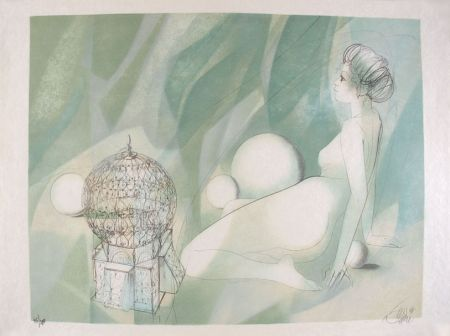 Lithographie Valadie - Femme Nue Assise