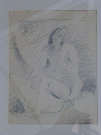 Aucune Technique Lhote - Femme nue assise au palmier