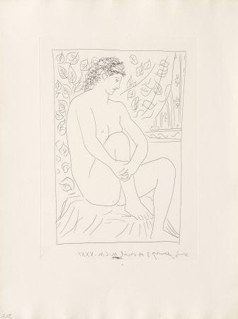 Gravure Picasso - Femme nue assise devant un rideau