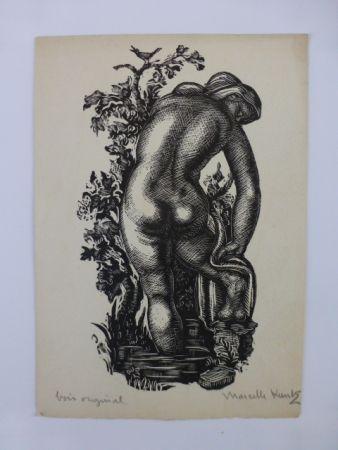 Gravure Sur Bois Kuntz - Femme nue de dos