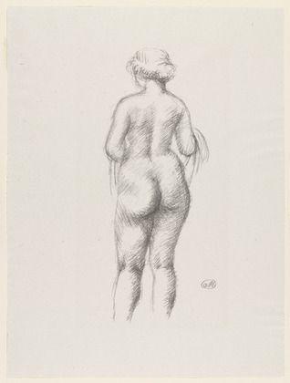 Lithographie Maillol - Femme nue de dos tenant une echarpe
