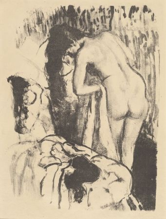 Lithographie Degas - Femme nue debout à sa toilette / Standing Nude Woman, Drying Herself