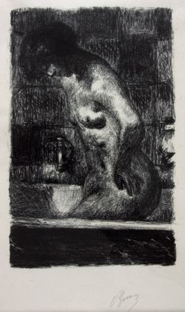 Lithographie Bonnard - Femme Nue Debout dans sa Baignoire