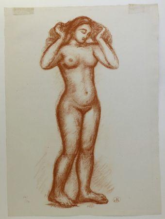 Lithographie Maillol - Femme nue en pied. 1935