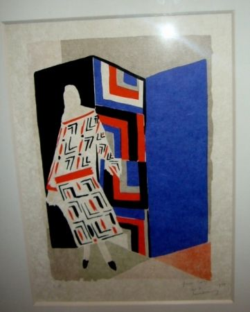 Lithographie Delaunay - Femme paravent