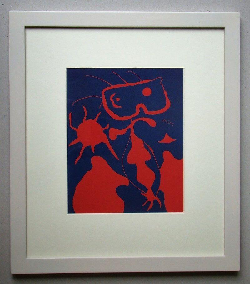 Linogravure Miró - Femme pour XXe Siècle