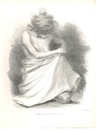 Lithographie Boutet - Femme qui cherche une puce / Woman Looking for a Flea