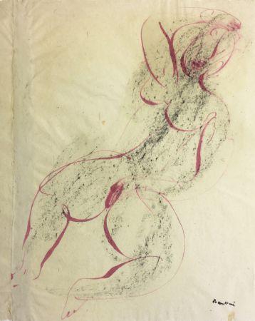 Monotype Fautrier - Femme se caressant. Dessin original au pinceau (1942)