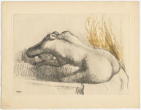 Eau-Forte Et Aquatinte Degas - Femme se lavant dans sa baignoire (vers 1892)