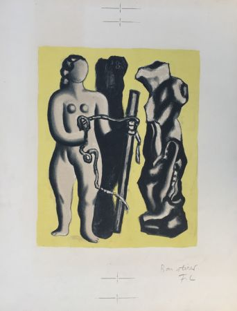 Lithographie Leger - Femme sur fond jaune (Woman on yellow background)